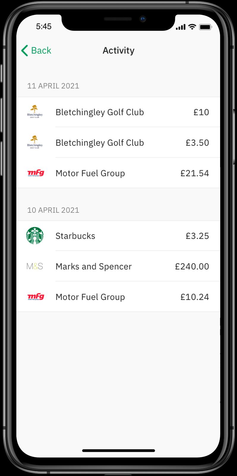 Wirex App: Activity List